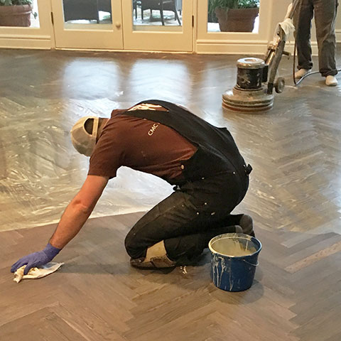 Applying hardwax oil herringbone floors
