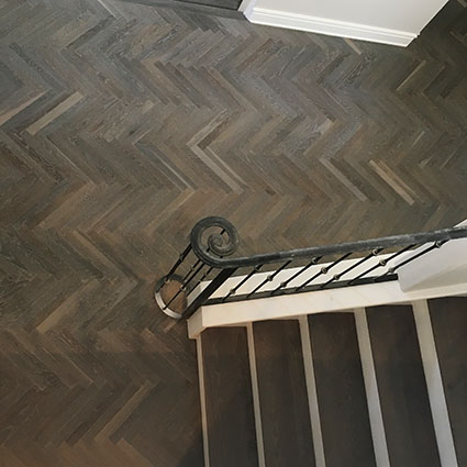 White Oak herringbone fumed stairs
