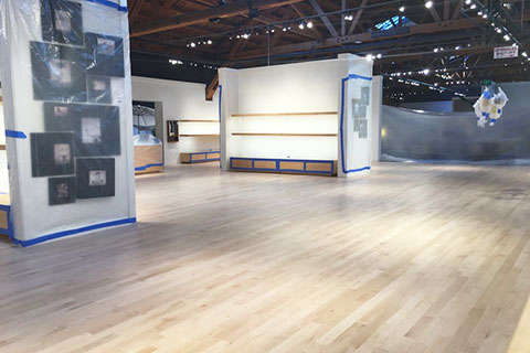 Culver City showroom floor being refinished